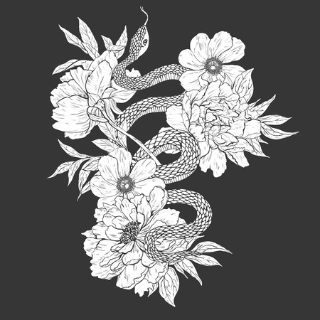 Snakes and flowers. Tattoo art, coloring books.  vintage  illustration Isolated on white background.