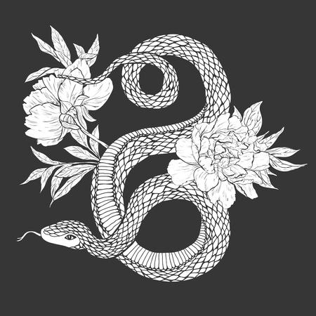 Serpientes y flores. arte del tatuaje, libros para colorear. ilustración de la vendimia aislado en el fondo blanco. Ilustración de vector