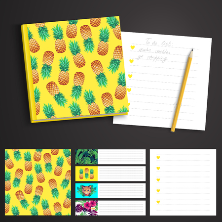 printable: Tropical set. printable notepad design of cover and papers. Illustration