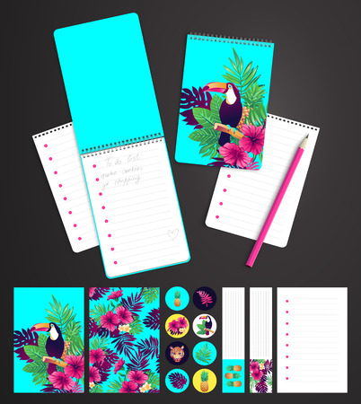 Tropical set. printable notepad design of cover and papers. Vektorové ilustrace
