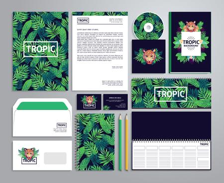 Huisstijl sjablonen in tropische stijl met kladblok, disk, verpakking, etiket, envelop etc. Stockfoto - 52783301