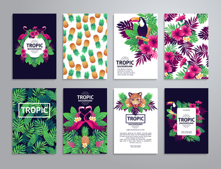 leopard background: Tropical printable set. cards, notes and with toucan, leopard, exotic flowers and fruits.