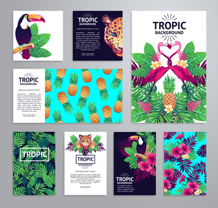 bird of paradise plant: Tropical printable set. cards, notes and with toucan, leopard, exotic flowers and fruits.