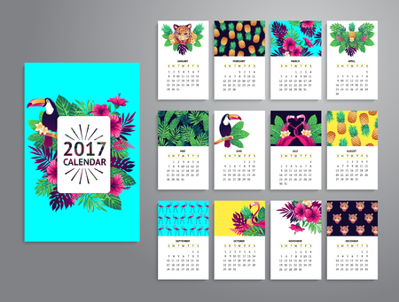 exotic fruits: Tropical printable calendar 2017 with toucan, exotic flowers and fruits.