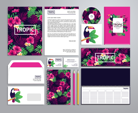 Corporate identity templates in tropical style with notepad, disk, package, label, envelope etc.