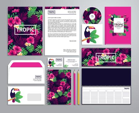 bird of paradise: plantillas de identidad corporativa en estilo tropical con el bloc de notas, disco, empaque, etiquetado, etc. envolvente
