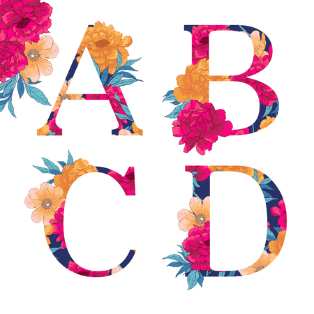 Vintage flower alphabet. illustration Isolated on white background. Check my portfolio for other letters.