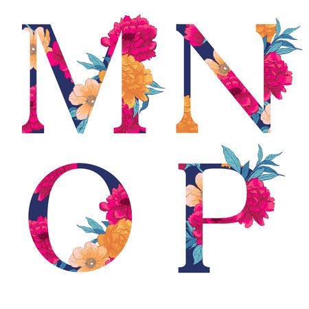 빈티지 꽃 alphabet.illustration 흰색 배경에 고립. 일러스트