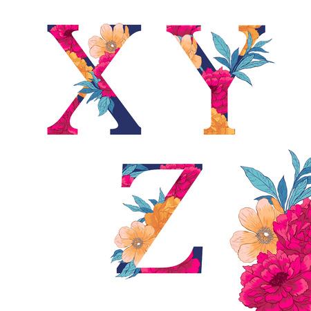english rose: Vintage flower alphabet.illustration Isolated on white background.