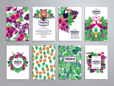 Tropical printable set. cards, notes and banners with toucan, leopard, exotic flowers and fruits. Vettoriali