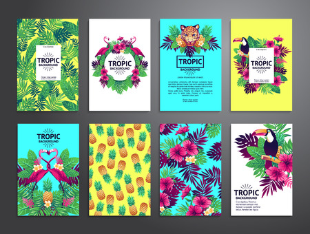 Tropical printable set. cards, notes and banners with toucan, leopard, exotic flowers and fruits. Vectores
