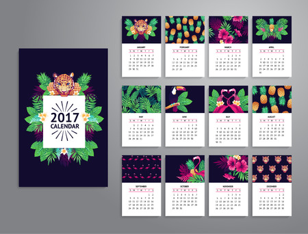 week: Tropical printable calendar 2017 with leopard, exotic flowers and fruits.