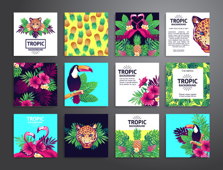hands plant: Tropical printable set. cards, notes and banners with toucan, leopard, exotic flowers and fruits. Illustration