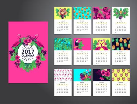 flamenco ave: Tropical calendario imprimible 2017 con el flamenco, flores exóticas y frutas.