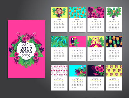 bird of paradise: Tropical printable calendar 2017 with flamingo, exotic flowers and fruits.