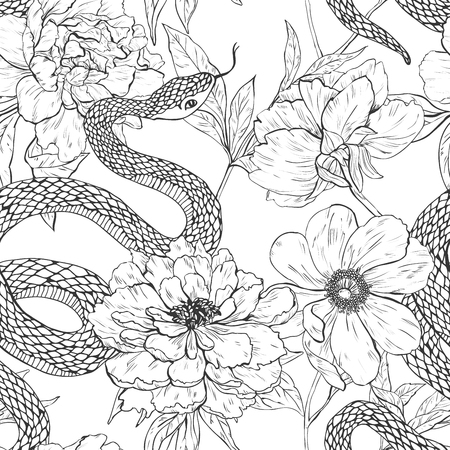 boa constrictor: Snakes and flowers. Tattoo art, coloring books.  vintage seamless pattern.