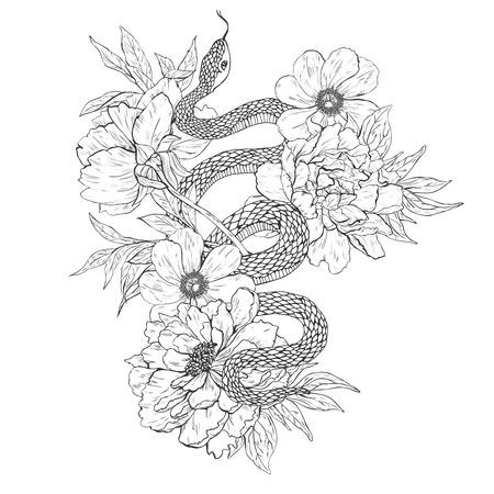 Serpientes y flores. arte del tatuaje, libros para colorear. ilustración de la vendimia aislado en el fondo blanco.