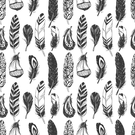 Feathers in Native American Indian style. Hand drawn hipster background. Çizim