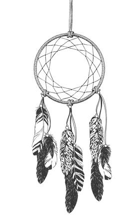 talisman: El cazador de sueños con plumas. talismán indio americano nativo.