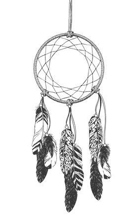 Dreamcatcher with feathers. Native American Indian talisman. Illustration