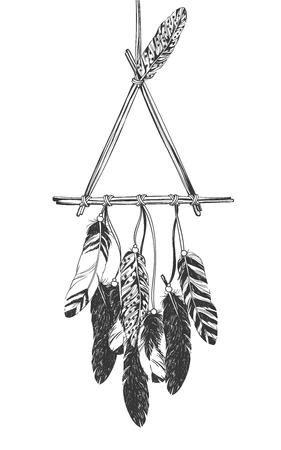 talisman: Dreamcatcher with feathers. Native American Indian talisman. Illustration
