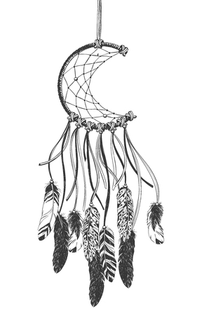 Dreamcatcher with feathers. Native American Indian talisman. Stock Illustratie