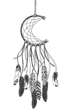 Dreamcatcher with feathers. Native American Indian talisman. Ilustração