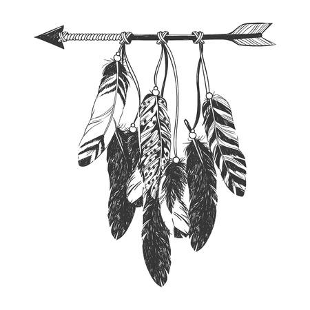 Dreamcatcher con la freccia e piume. Native American Indian talismano.