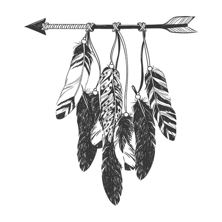 Dreamcatcher with arrow and feathers. Native American Indian talisman. 矢量图像
