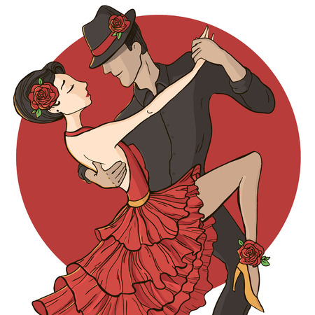 Couple dancing tango. Vector illustration isolated on white background.