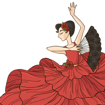 여자 춤 플라멩고. 벡터 일러스트 레이 션 흰색 배경에 고립.