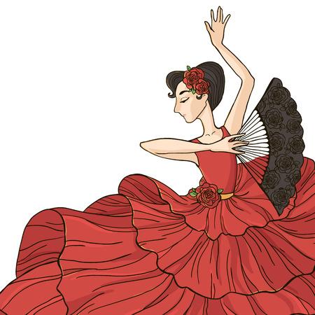 bailando flamenco: Mujer bailando flamenco. Ilustración del vector aislado en el fondo blanco. Vectores