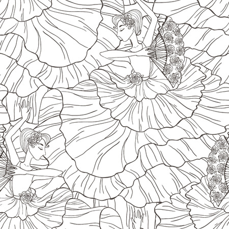Seamless vector pattern with tango and flamenco dancers.