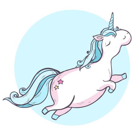 Unicorno magico del fumetto. Illustrazione vettoriale isolato su sfondo bianco. Archivio Fotografico - 67943262