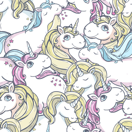 Seamless vector pattern with cute magic unicorns.