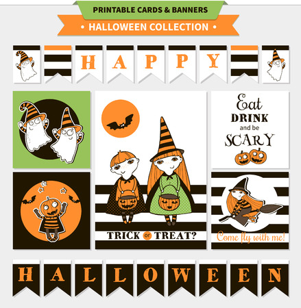 vampire bats: Halloween printable vector cards and banners with cartoon funny pumpkin, witches, ghosts, vampire bats, stars and text.