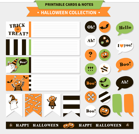 vampire bats: Halloween printable vector cards, banners, stickers and notes with cartoon funny pumpkin, ghosts, vampire bats, bones, stars and text.