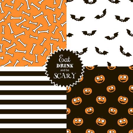vampire bats: Halloween set of seamless vector patterns with cartoon funny pumpkin, vampire bats, bones and striped. Illustration
