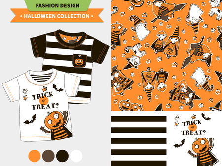 vampire bats: Halloween fashion set for babies and kids, vector artworks and seamless patterns with cartoon funny pumpkin, ghosts, vampire bats, stars and words mommy s little pumpkin, my first halloween.