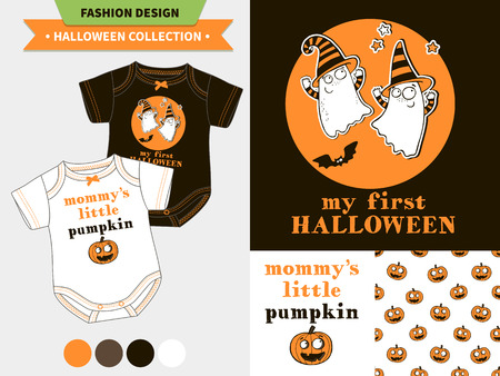 romper: Halloween fashion set for babies and kids, vector artworks and seamless patterns with cartoon funny pumpkin, ghosts, vampire bats, stars and words mommy s little pumpkin, my first halloween.