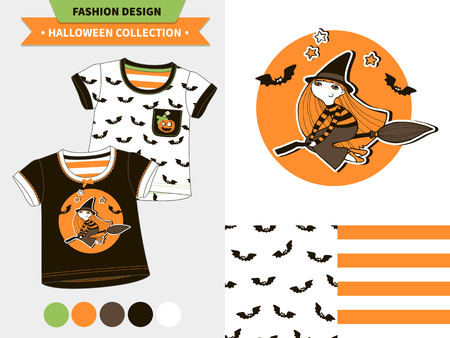 Halloween fashion set for babies and kids, vector artworks and seamless patterns with cartoon funny pumpkin, ghosts, vampire bats, stars and words mommy s little pumpkin, my first halloween.