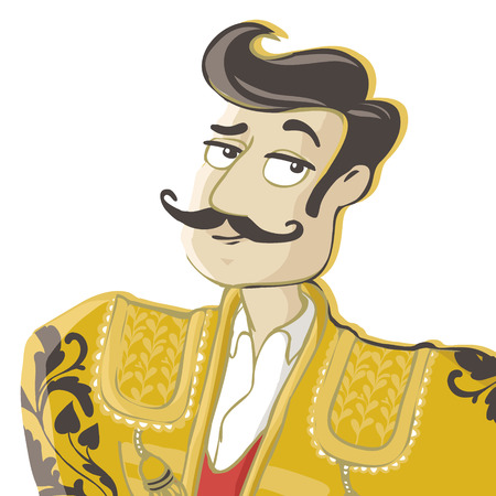 Corrida vector Illustration isolated on white background. Matador, spanish man with mustache.