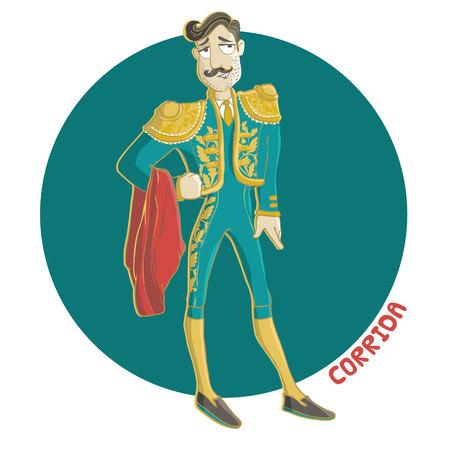Corrida vecteur Illustration isolé sur fond blanc. Matador, l'homme espagnol avec la moustache.