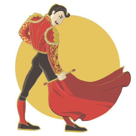 Corrida Vektor-Illustration auf weißem Hintergrund. Matador, spanischer Mann mit Schnurrbart.