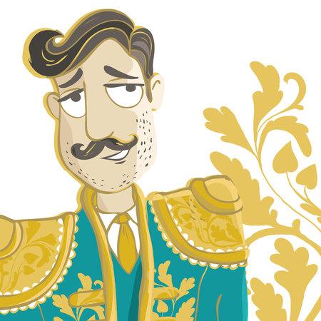 Corrida vector Illustration isolated on white background. Matador, spanish man with mustache.