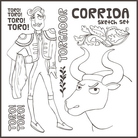 Corrida vector Illustration isolated on white background.