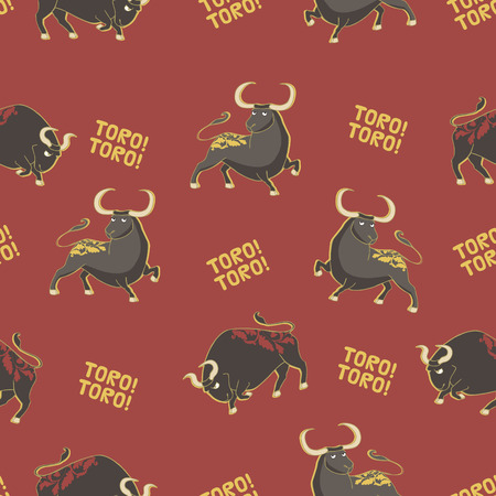 Seamless vector pattern with bulls. Corrida background. Stock Vector - 68712649