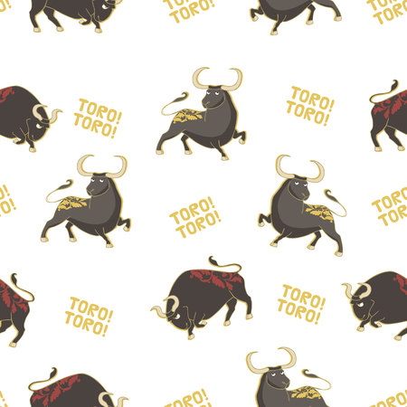 Seamless vector pattern with bulls. Corrida background. Stock Vector - 68712651