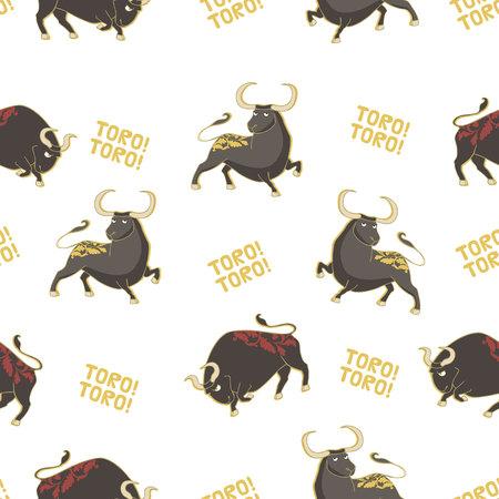 Seamless vector pattern with bulls. Corrida background. Illustration