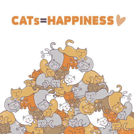 Cats are happiness. Vector illustration isolated on white background. Illustration